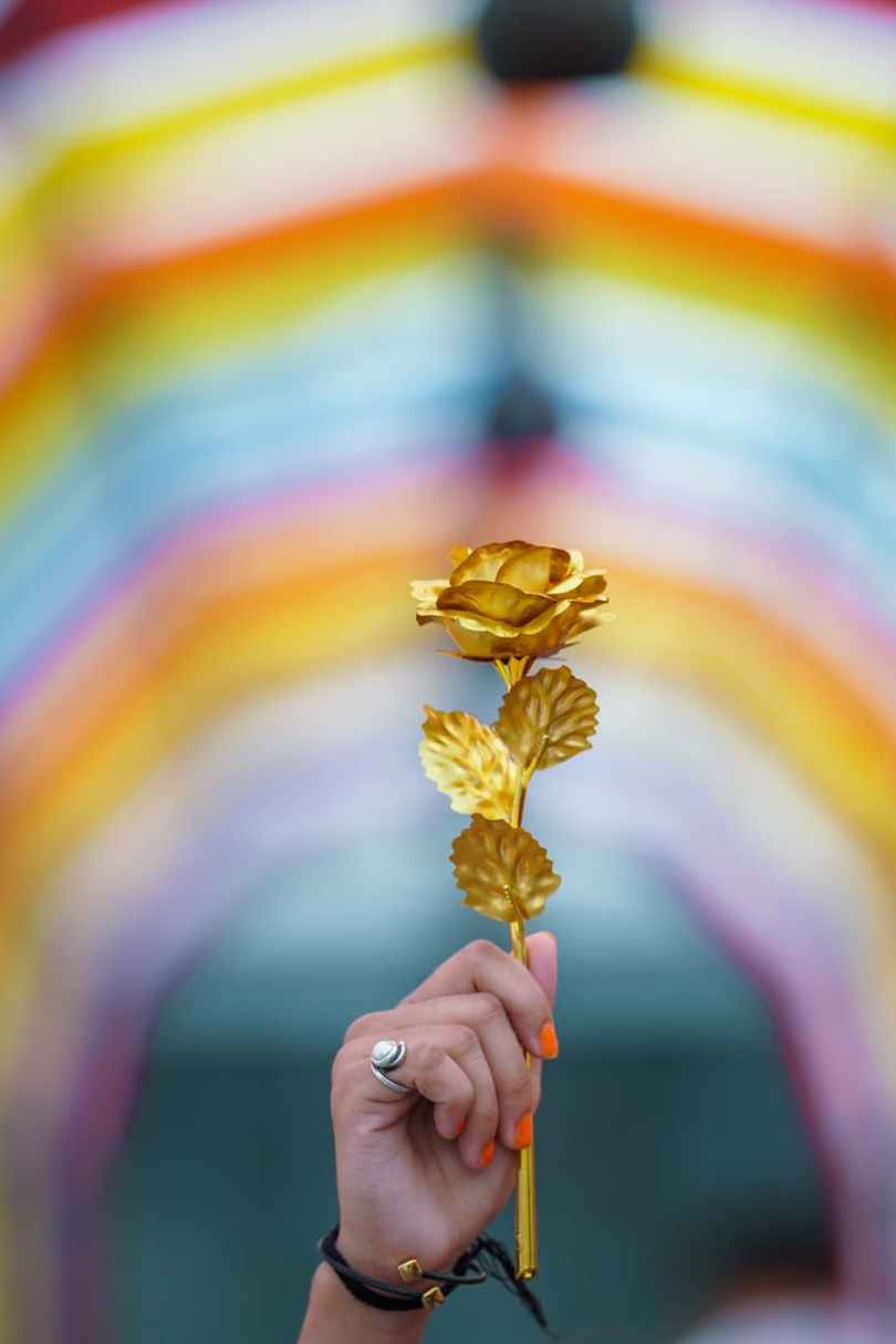 an iron cast gold flower
